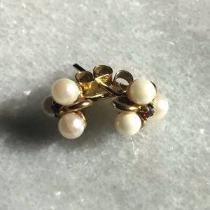 Antique 9ct Gold Pearl Ruby Earrings